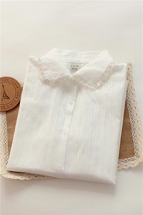 【珍珠花边领白色衬衣】-衣服-服饰鞋包