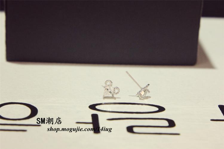 925纯银小羊头钻耳钉