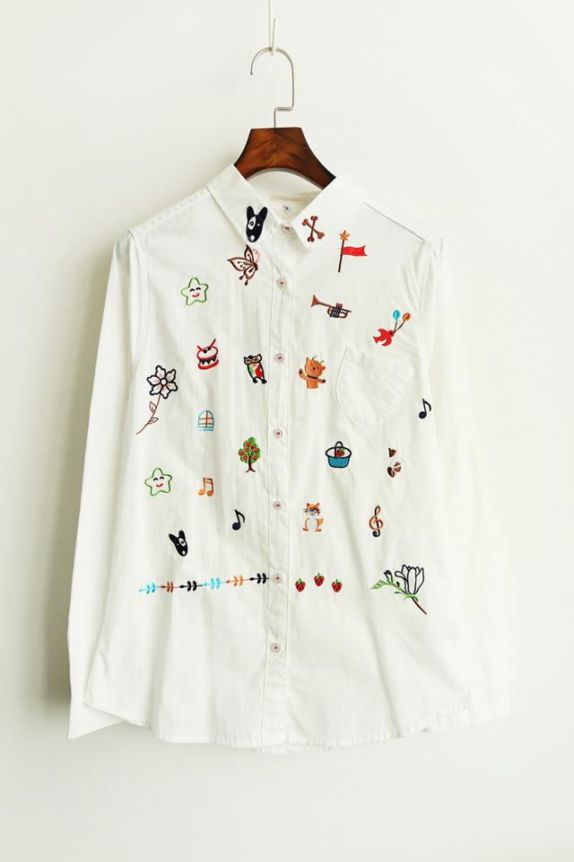 童趣动物图案刺绣衬衣