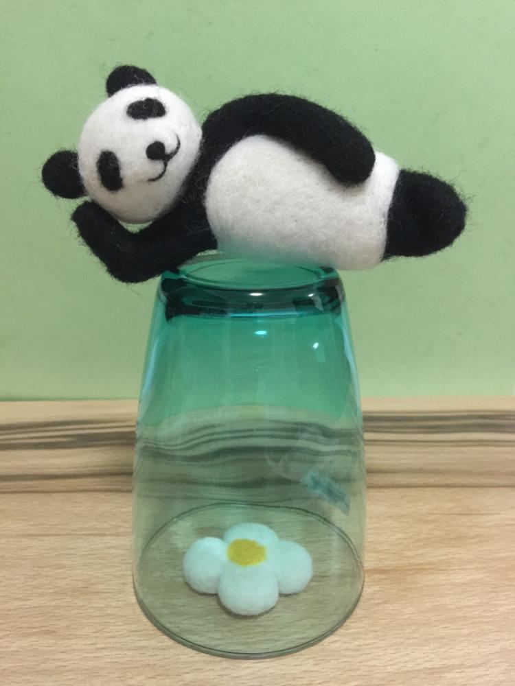 羊毛毡熊猫纯手工制作,可定制,可定半成品