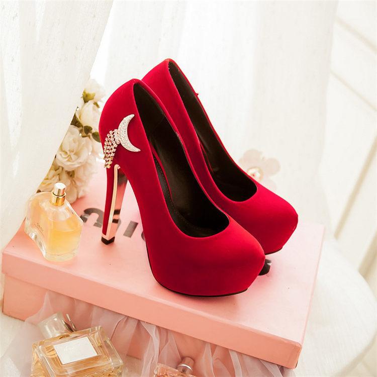 【【性感】红色超高跟婚鞋】-鞋子-单鞋