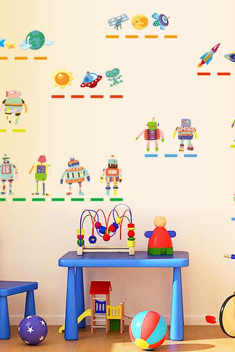 【萌趣73卡通机器人朋友环保墙贴qt7141】-家居-贴
