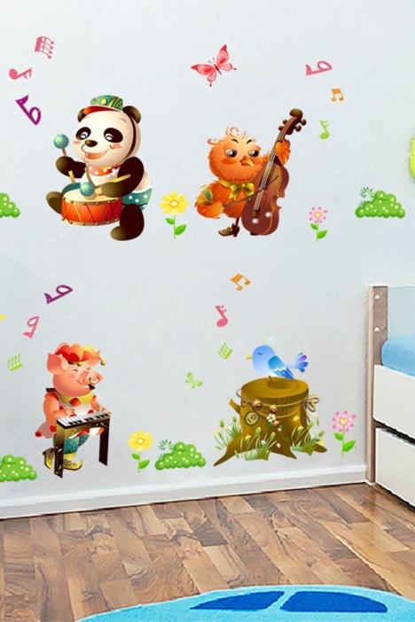 卡通动物音乐会墙贴画】-家居-墙贴