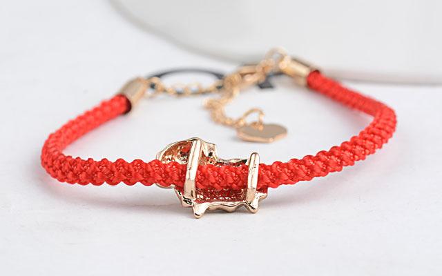 本命年转运红绳带钻铜钱小羊手链
