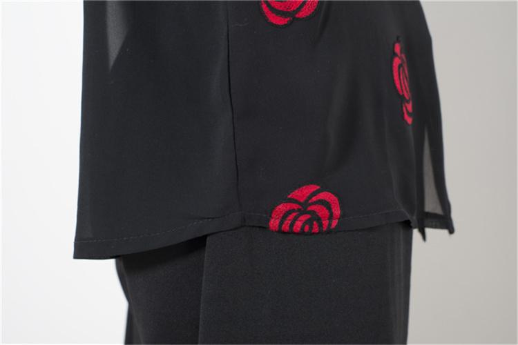 【玫瑰花朵绣花雪纺衬衫】-衣服-服饰鞋包