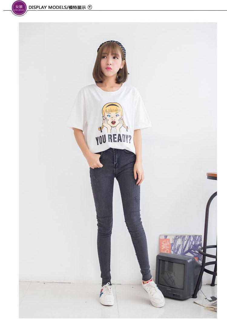 麻花辮女孩頭像 字母印花設計,簡約時尚的一款短袖t恤,配牛仔褲很好看