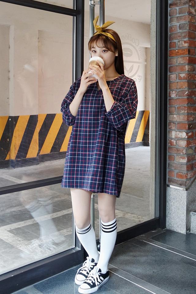 【韩国金敏珠格子连衣裙】-衣服-裙子