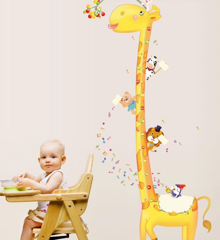 卡通长颈鹿小猴宝宝身高墙贴