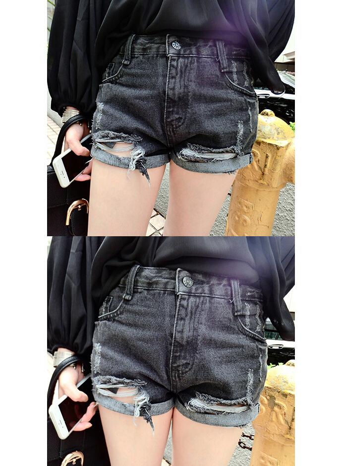 【韩版百搭破洞牛仔短裤】-衣服-裤子