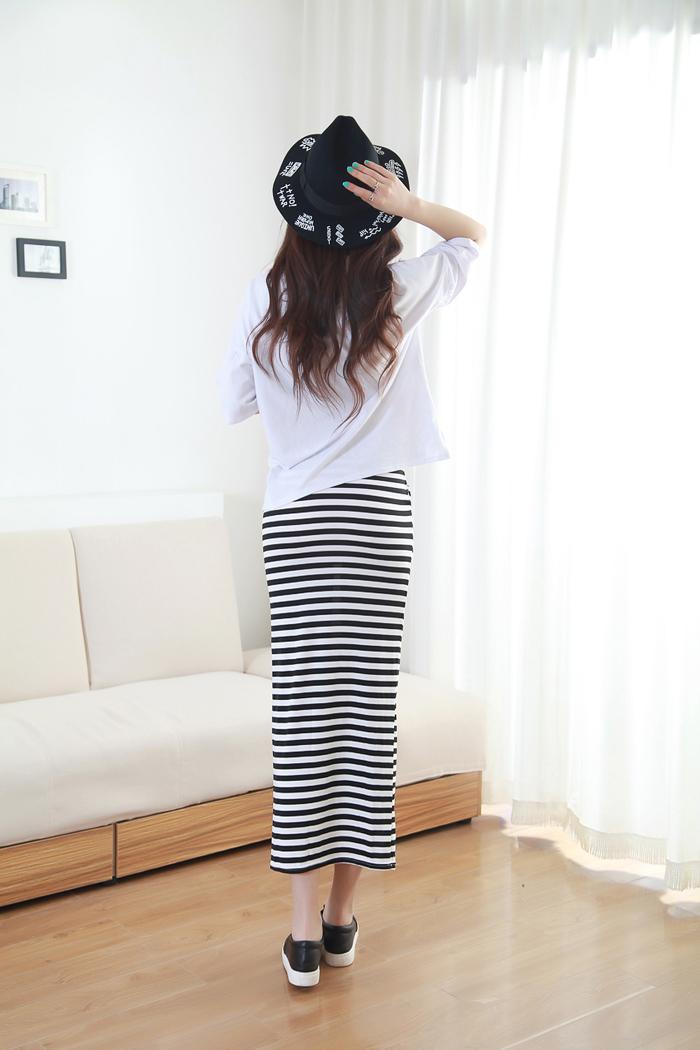 【欧美风黑白条纹半身长裙】-衣服-半身裙