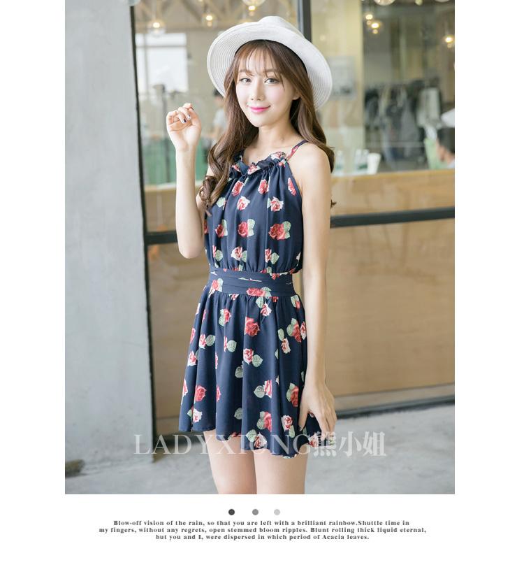 【韩版玫瑰花朵雪纺连衣裙】-衣服-裙子