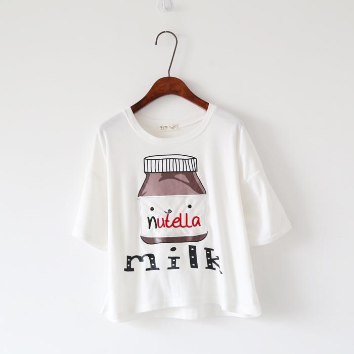 可爱牛奶瓶图案子t恤