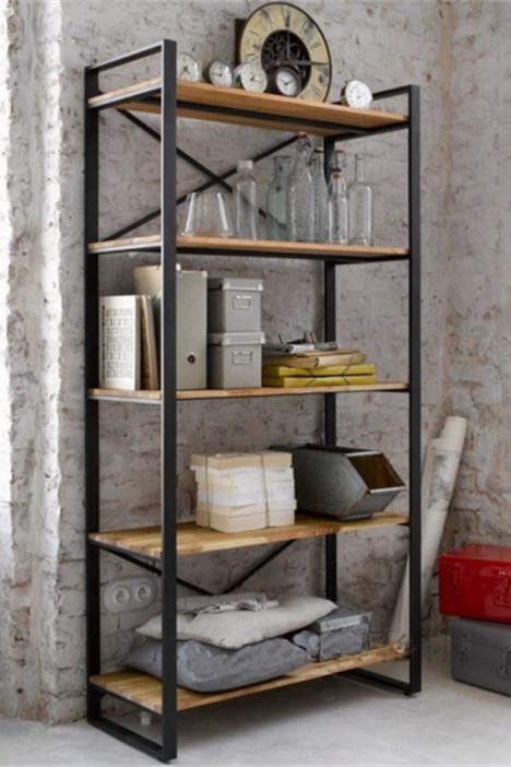 【美式书架复古书柜实木隔板置物架】-家居-其它柜类