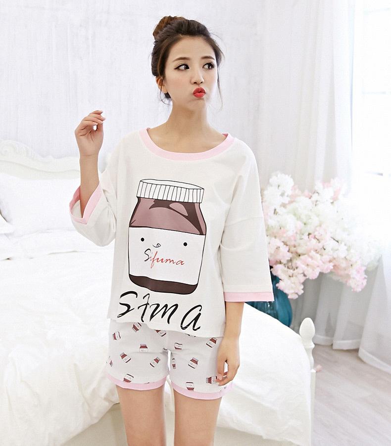 【夏季韩版可爱牛奶瓶宽松睡衣套装】-内衣-女士内衣