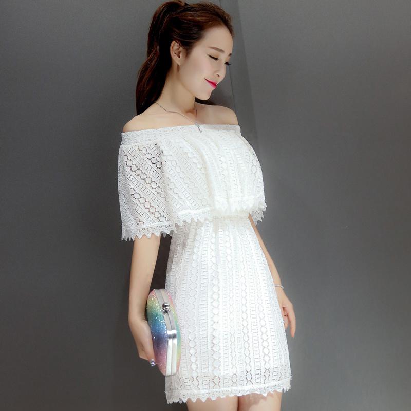 一字领两穿蕾丝新款韩范连衣裙整体款式图片