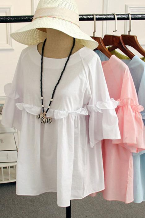韩国优雅甜美小清新可爱娃娃衬衫