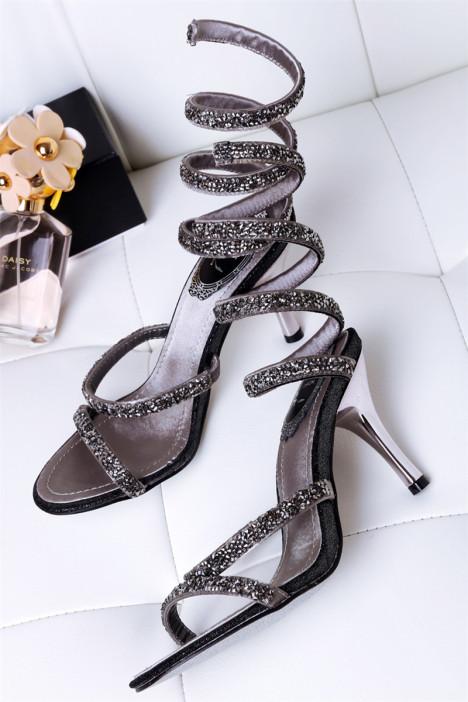 真皮rc水钻同款性感高跟蛇形凉鞋
