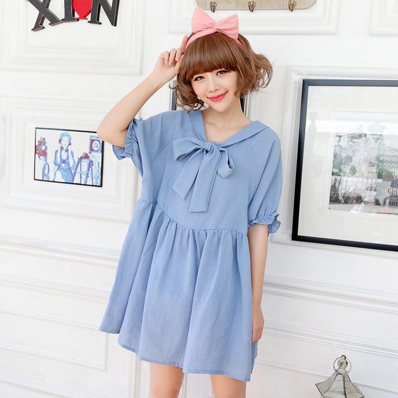 夏韩版可爱宽松娃娃领蝴蝶结泡泡袖a型娃娃裙正反两穿连衣裙短裙