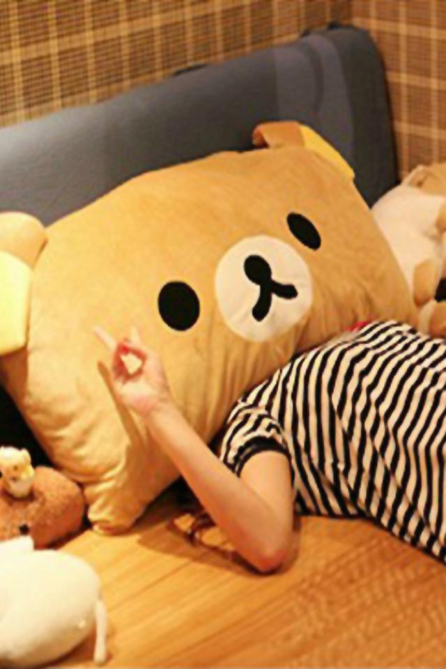 萌萌哒~可爱轻松小熊双人枕