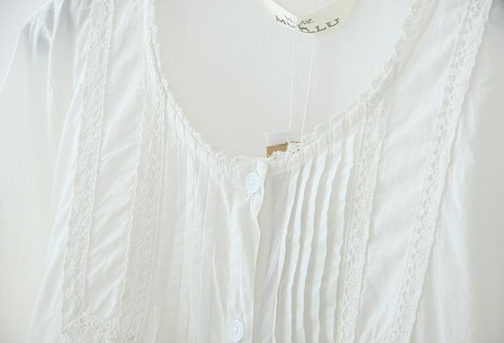 新款森女系花边纯棉小清新衬衫