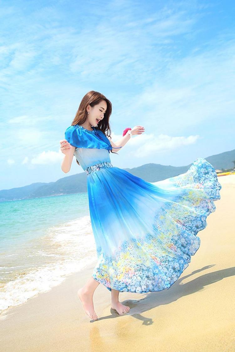 飘逸_2015新款波西米亚夏海边沙滩时尚长裙子雪纺印花飘逸大摆连衣长裙