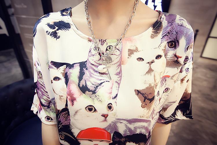 可爱猫咪印花圆领短袖套头雪纺衫
