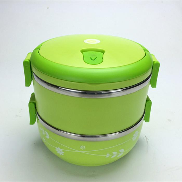 2015清清美新款不锈钢双层圆形饭盒提手保温饭盒正品包邮送礼物