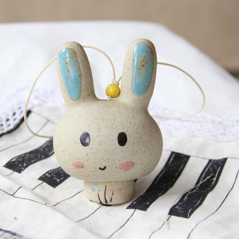 清新治愈系 创意可爱小动物陶瓷招财夏日日式风铃 宝宝兔子风铃