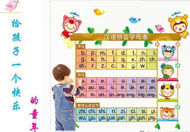 宝宝汉语拼音表 可爱娃娃可移除墙贴幼儿园儿童房装饰背景