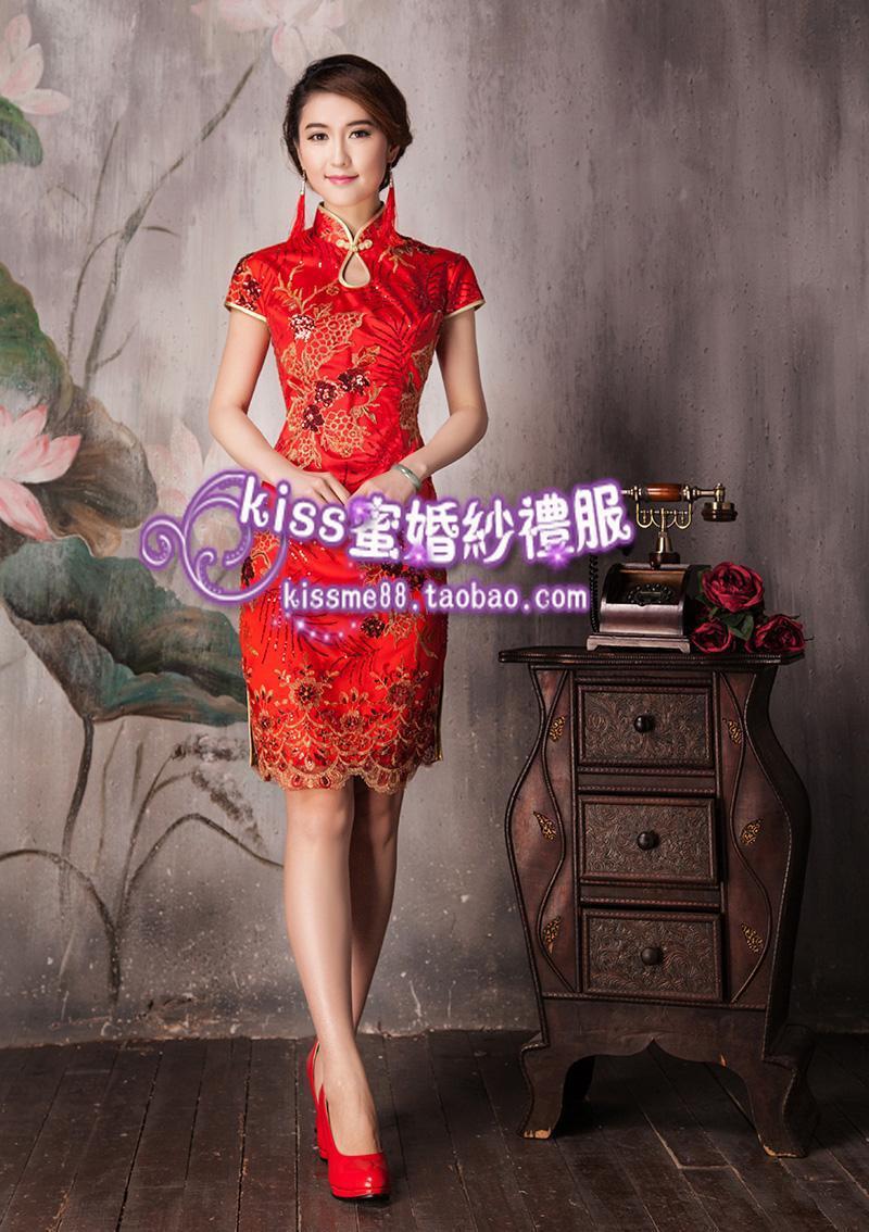 红色短款旗袍 新娘结婚夏季旗袍
