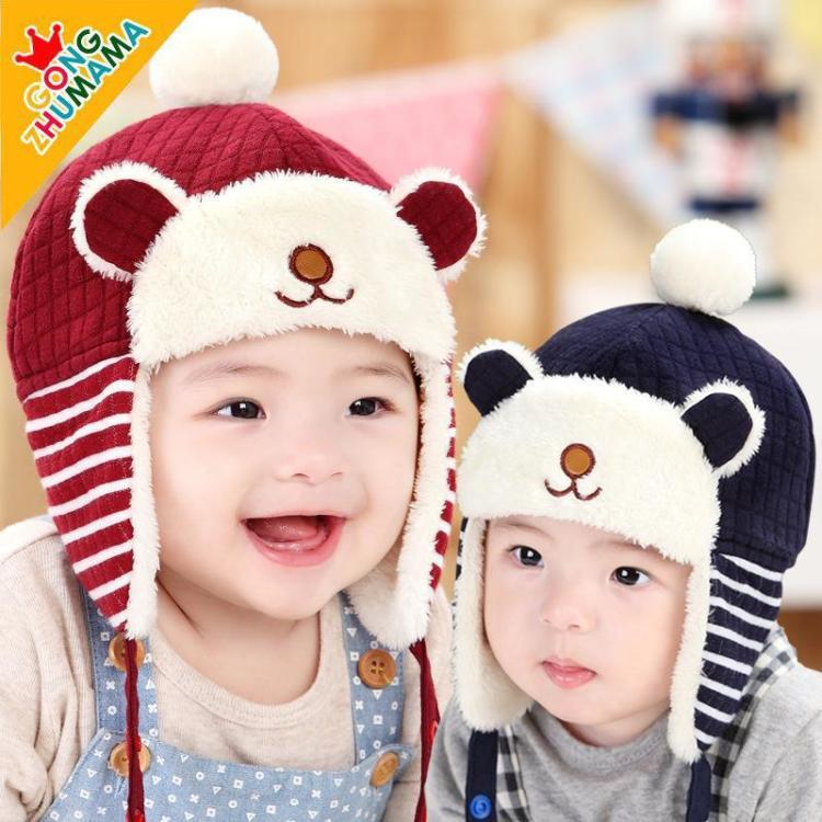 儿童帽子秋冬款宝宝帽子护耳雷锋帽小孩加绒帽1-2岁男女婴儿帽