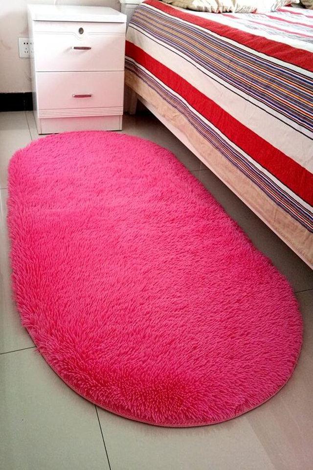 包邮椭圆形可爱公主风长毛绒纯色欧式卧室床边床前满铺防滑儿童地毯客