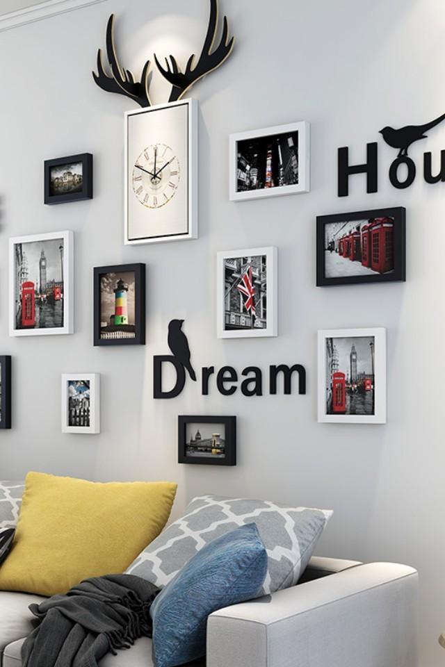 ins小清新照片墙装饰客厅装饰画相片墙悬挂北欧背景墙创意个性相框挂