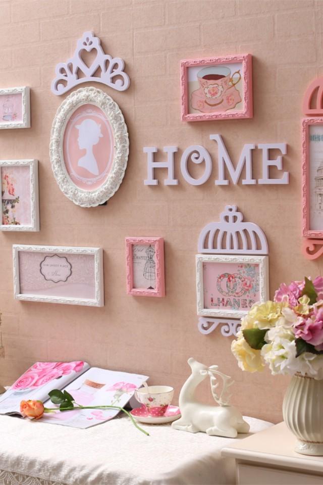 公主房粉色照片墙创意墙面挂饰网红ins爆款装饰画欧式客厅餐厅背景墙