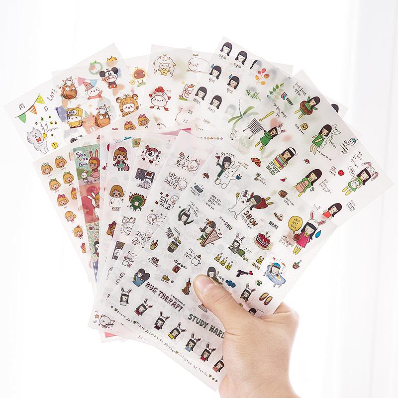 卡通手账贴纸手帐工具素材本套装少女心可爱手机装饰帐小贴画胶带