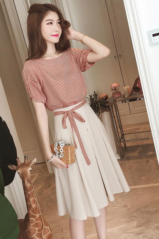 夏装新款女装韩版衬衫高腰中长款半身裙a字裙时尚套装仙女两件套图片