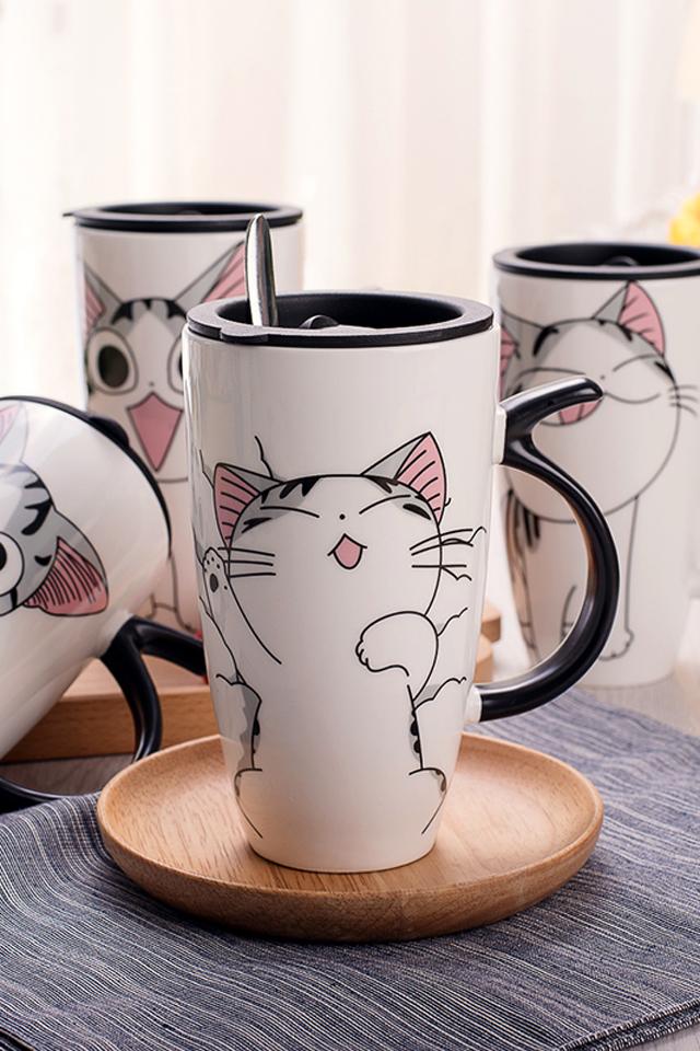 创意个性猫咪马克杯带盖勺大容量可爱陶瓷杯子办公咖啡情侣杯水杯