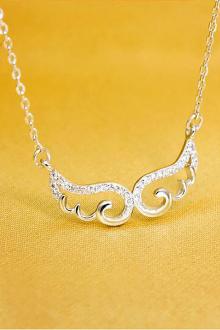 925银项链吊坠可爱甜美天使之翼翅膀锁骨链配饰时尚潮礼物$73.5