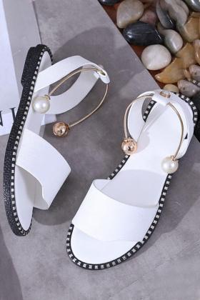 韩版低跟凉鞋女夏2017新款珍珠脚环罗马鞋一字扣学生平底凉鞋$29.