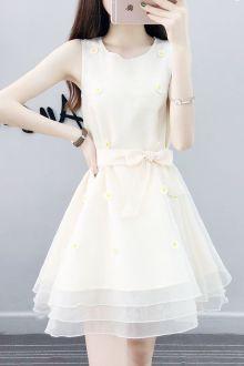 7夏季新款无袖小清新刺绣蝴蝶结修身显瘦欧根纱公主连衣裙$69-欧图片