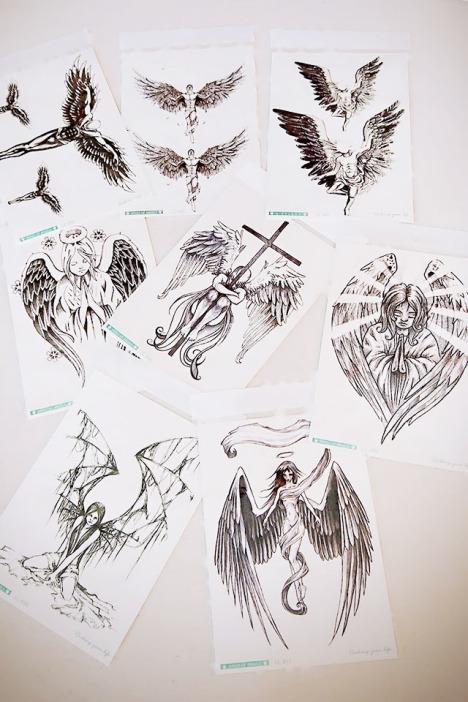 gd权志龙个性纹身贴纸韩国防水堕落天使纹身贴男女持久大张花臂