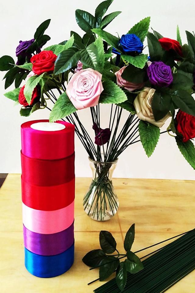 丝带玫瑰花杆包装网纱制作手工diy材料包工具胶枪缎带彩带