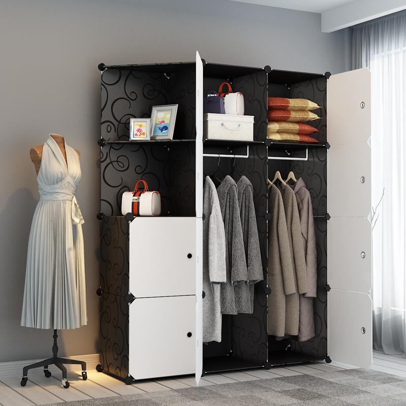 简易衣柜布衣橱塑料组合组装收纳柜子折叠宿舍钢架简约现代经济型组装