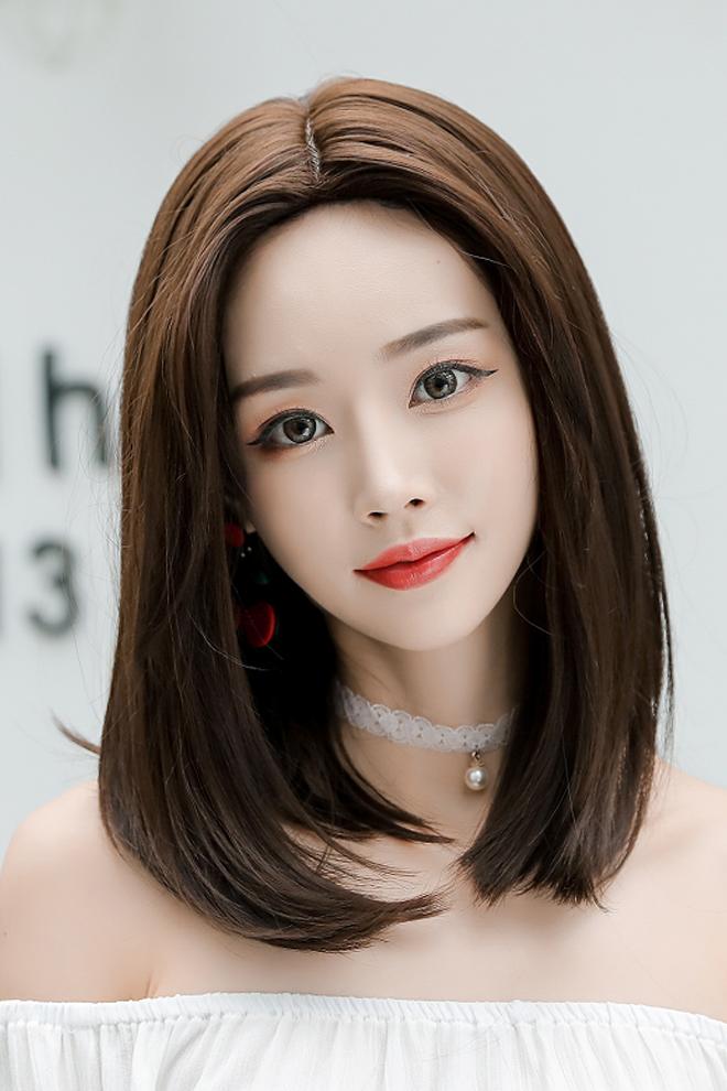假发女网红齐肩短发中分中长发圆脸长直发长发修脸直发自然假发套图片