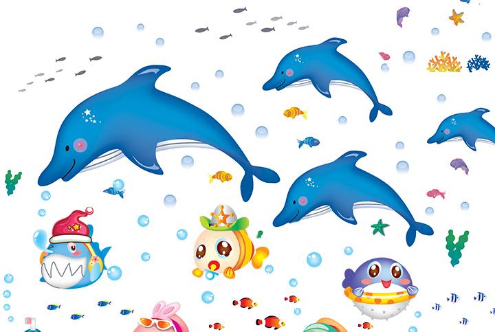 小姿家居 买5送1 儿童房幼儿园海洋馆海底世界鱼墙贴画卫生间浴室装饰