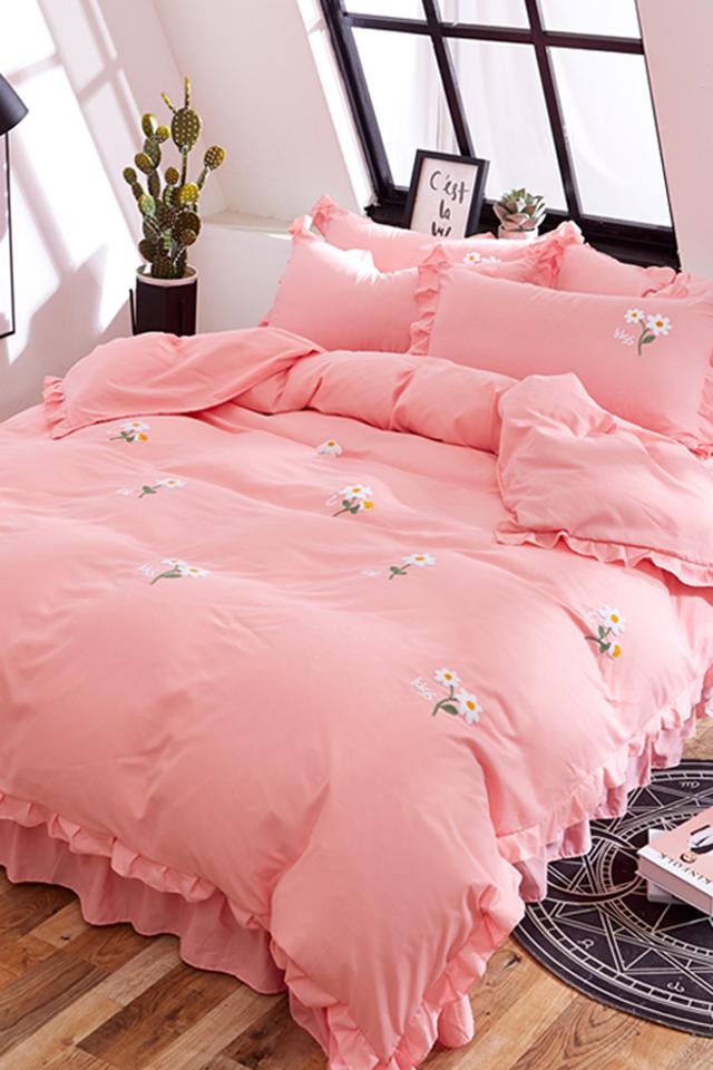 韩版公主风床裙四件套纯色毛巾绣床单被套荷叶边绣花被罩舒柔棉春夏双图片