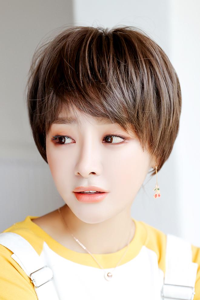 七街皇后女士假发短发圆脸齐耳造型蓬松自然逼真帅气女网红假发套图片