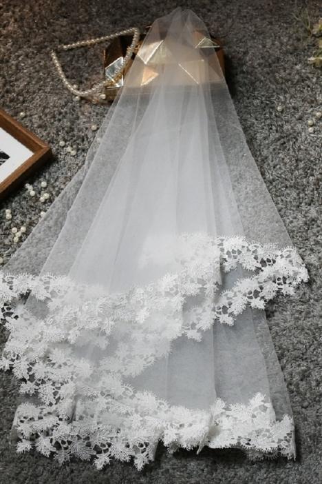 短款韩式旅拍简约头纱欧式新娘蓬蓬头纱多层婚纱新款拍照结婚头纱