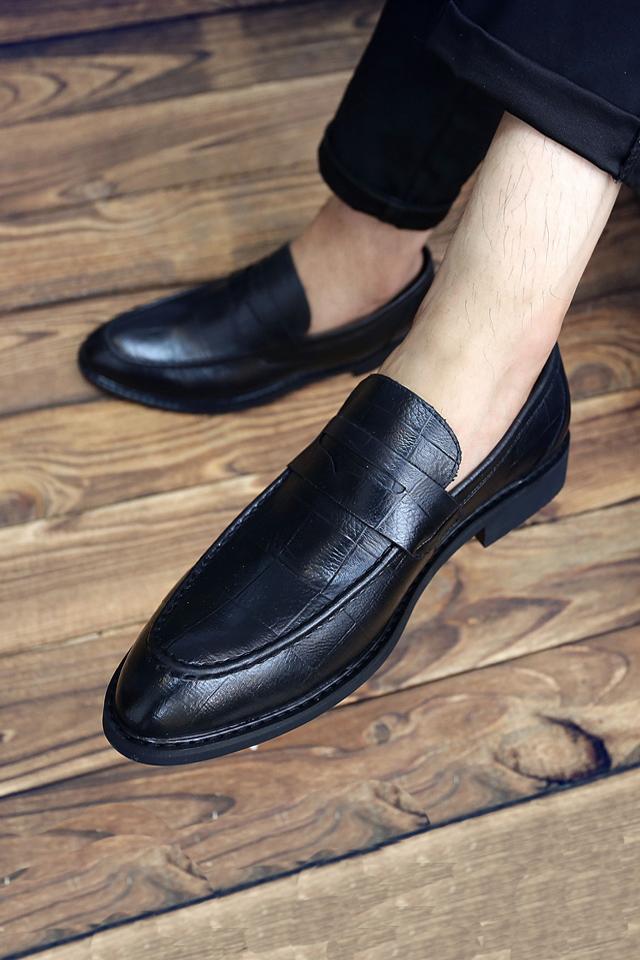 2019款英伦套脚格纹商务男鞋舒适软面皮鞋潮流韩式小皮鞋低帮男士休闲图片