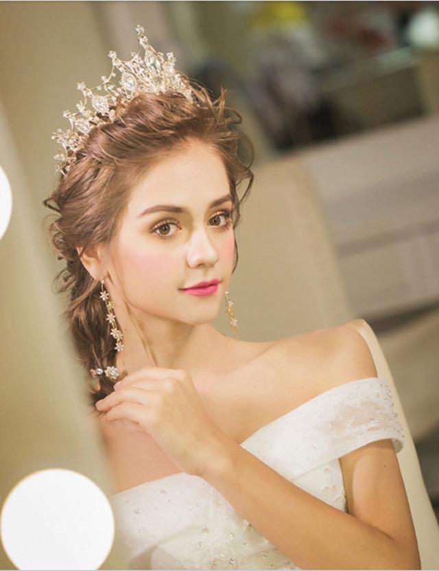韩式新娘皇冠头饰耳环奢华套装金色大气婚纱王冠礼服配饰结婚发饰公主